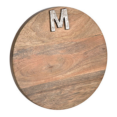 Round Monogram M Wood Cutting Board