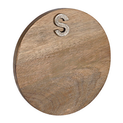 Round Monogram S Wood Cutting Board
