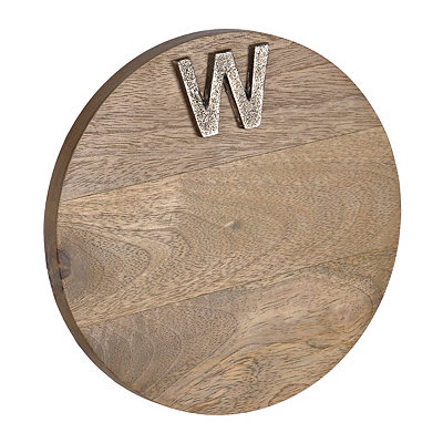 Round Monogram W Wood Cutting Board