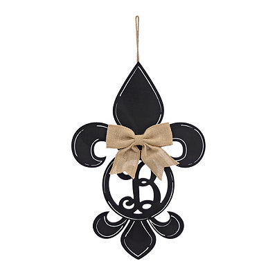 Black Monogram B Fleur-de-Lis Wooden Plaque