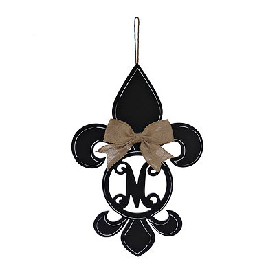 Black Monogram M Fleur-de-Lis Wooden Plaque