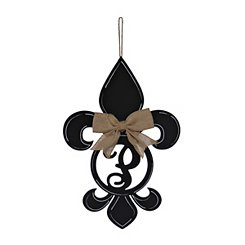 Black Monogram P Fleur-de-Lis Wooden Plaque
