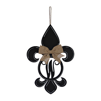 Black Monogram W Fleur-de-Lis Wooden Plaque