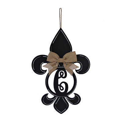 Black Monogram C Fleur-de-Lis Wooden Plaque