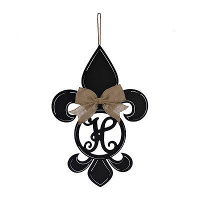 Black Monogram H Fleur-de-Lis Wooden Plaque