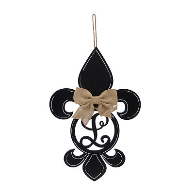 Black Monogram L Fleur-de-Lis Wooden Plaque