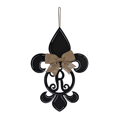 Black Monogram R Fleur-de-Lis Wooden Plaque
