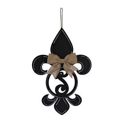 Black Monogram S Fleur-de-Lis Wooden Plaque