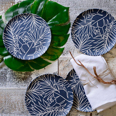 Blue Palm Salad Plates, Set of 4