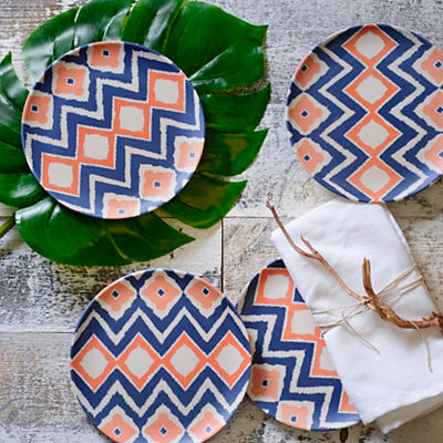 Global Print Salad Plates, Set of 4