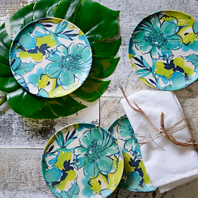 Teal Floral Salad Plates, Set of 4