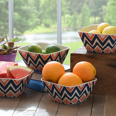 Global Print Snack Bowls, Set of 4