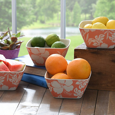Pink Hibiscus Snack Bowls, Set of 4