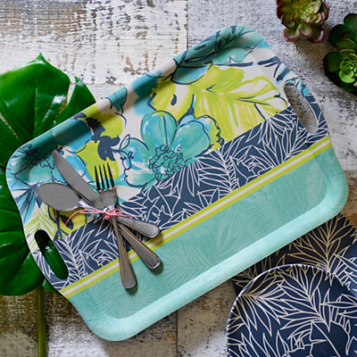 Floral Collage Bamboo Serving Tray