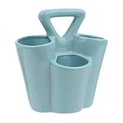 Turquoise Ceramic Utensil Caddy