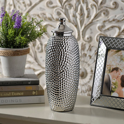 Embossed Silver Ceramic Jar with Lid