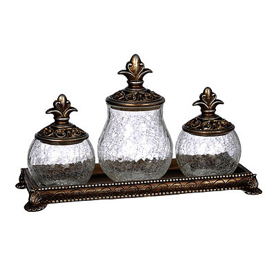 Bronze Crackle Potpourri Jars, Set of 3