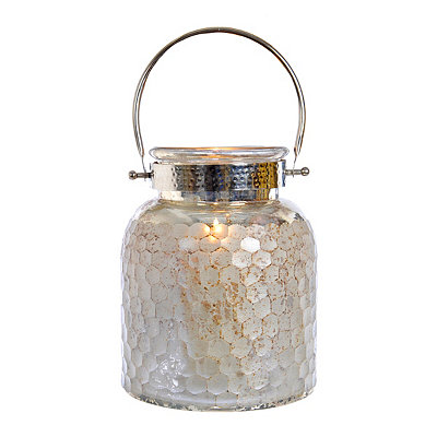 Tarnished Silver Mercury Glass Lantern