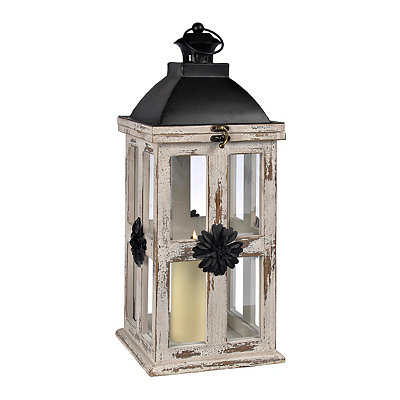 White Wood and Metal Flowers Lantern