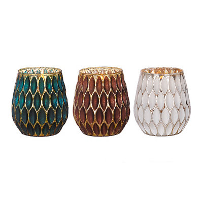 Oval Honeycomb Mercury Glass Votive Holders