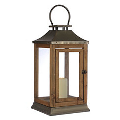 Matte Gold Metal and Wood Lantern