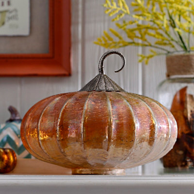 Amber Foil Glass Pumpkin, 11 in.