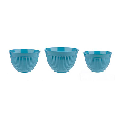 Turquoise Melamine Mixing Bowls, Set of 3