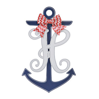 Blue and White Monogram H Anchor Wooden Plaque