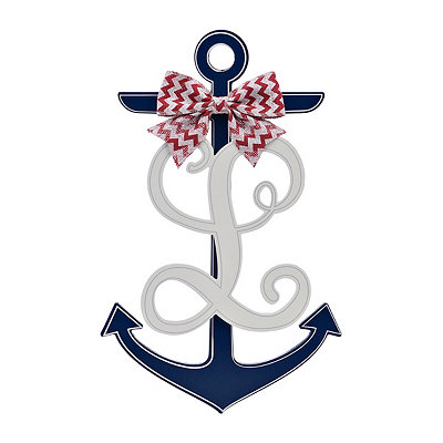 Blue and White Monogram L Anchor Wooden Plaque