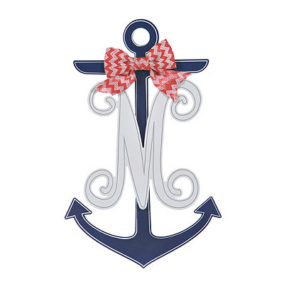 Blue and White Monogram M Anchor Wooden Plaque