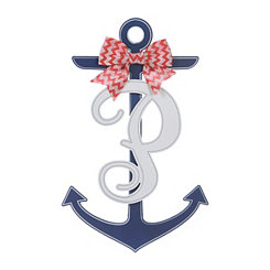 Blue and White Monogram P Anchor Wooden Plaque