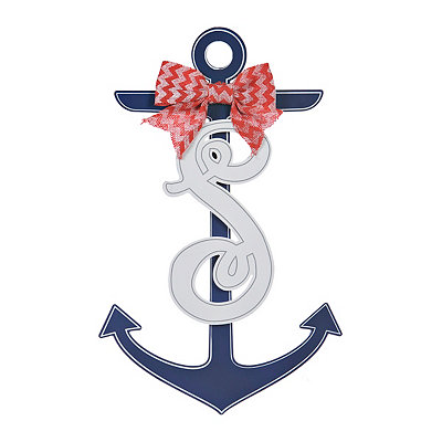 Blue and White Monogram S Anchor Wooden Plaque