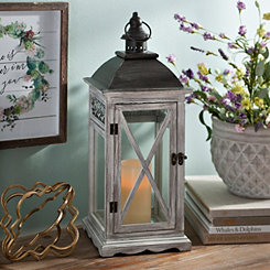 Gray Lattice Wood Lantern