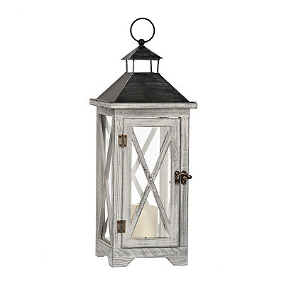 Crossed Gray Wood Lantern
