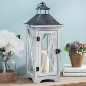 Crossed White Washed Wood Lantern