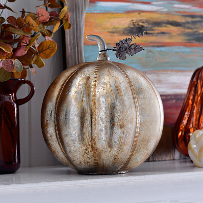 Brushed Metallic Gold Glass Pumpkin
