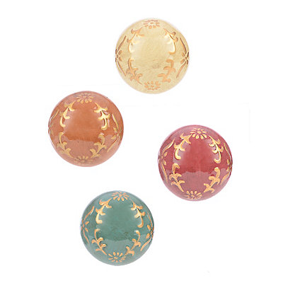 Gold Leaf Laurel Orbs, Set of 4