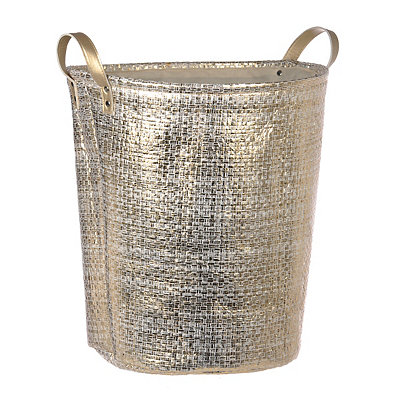 Woven Metallic Gold Laundry Basket