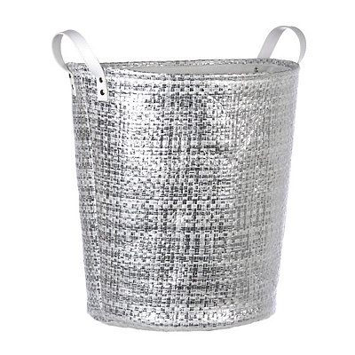 Woven Metallic Silver Laundry Basket