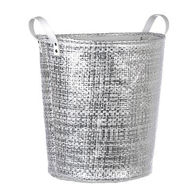 Woven Metallic Silver Laundry Basket