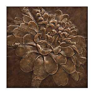 Bronze Zinna Metal Wall Plaque