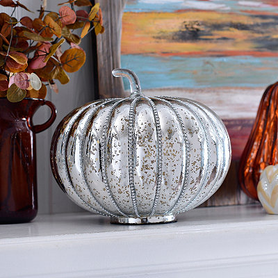 Metallic Silver Bling Mercury Glass Pumpkin