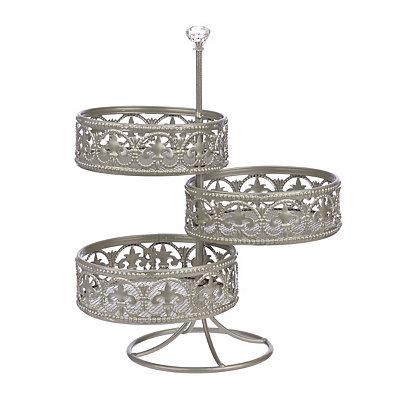 Silver Fleur-de-lis 3-Tier Vanity Tower