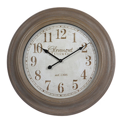 Brown Woodgrain Round Clock