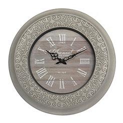 Distressed White Ornate Clock