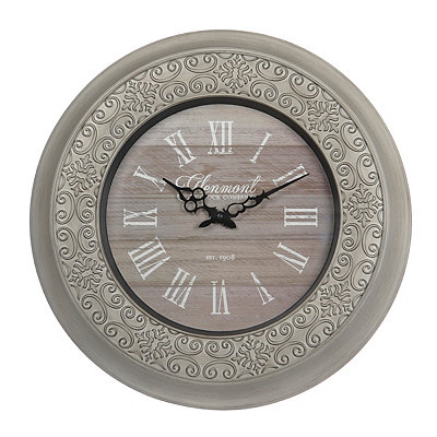 Distressed White Ornate Clock