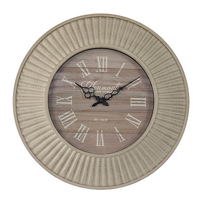 Antique Whitewash Ridged Clock