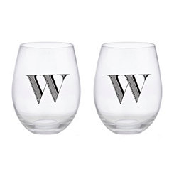 Monogram W Stemless Wine Glasses, Set of 2