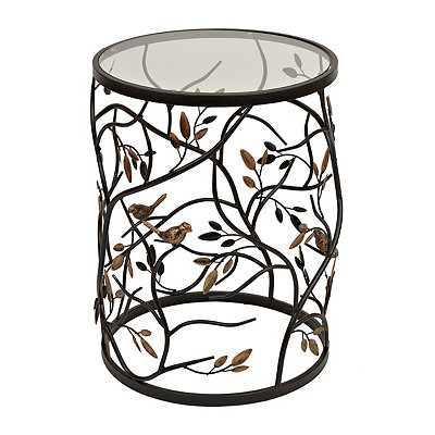 Metal and Glass Bird Barrel Table
