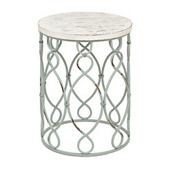 Turquoise Coastal Metal Table